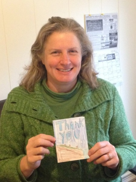 Jenn with Thank You Note from bothwell