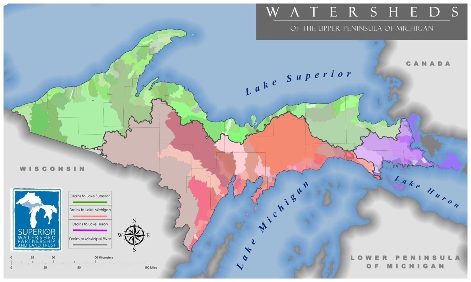 Map of Upper Peninsula Watersheds