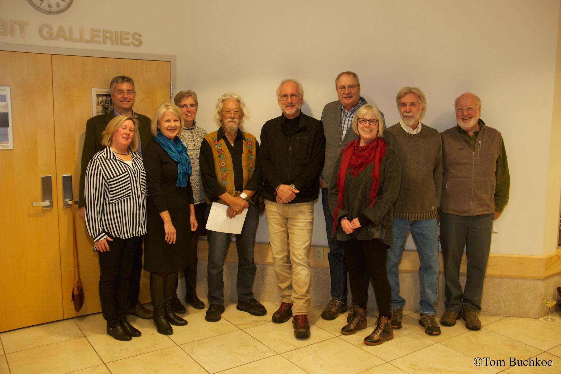 SWP Board From Left to Right: Dean Bothwell, Ron Cavallaro (back row), Lisa Kotler (Emeritus), Maura Davenport (back row), Dr. David Suzuki (Honorary Emeritus), Carl Lindquist, Jerry Maynard (back row), Mary Swift, Ron Sundell, Rich VanderVeen.